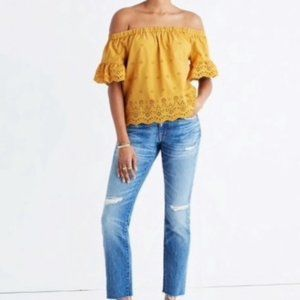 Madewell Yellow Off the Shoulder Eyelet Blouse
